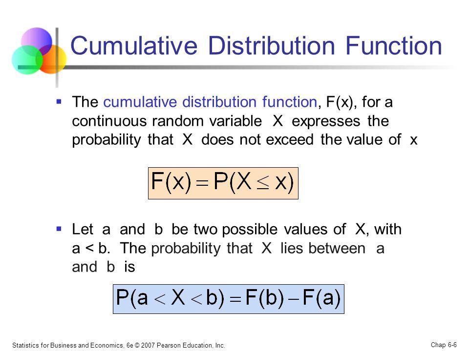 Statistics for Business and Economics, 6e © 2007 Pearson Education, Inc. Chap 6-6 Cumulative Distribution Function  The cumulative distribution funct