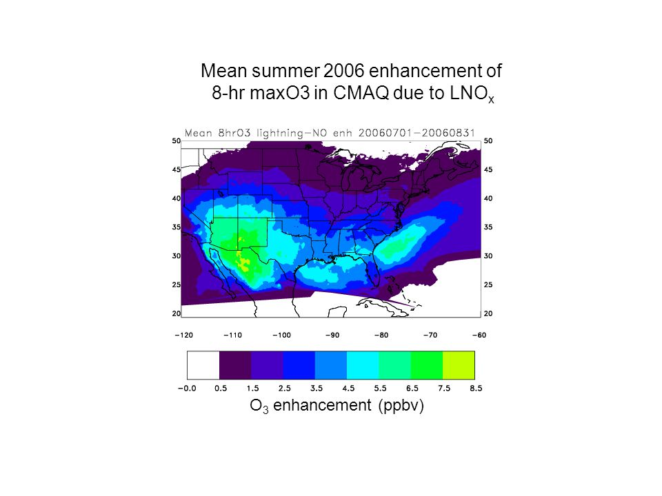 Mean summer 2006 enhancement of 8-hr maxO3 in CMAQ due to LNO x O 3 enhancement (ppbv)