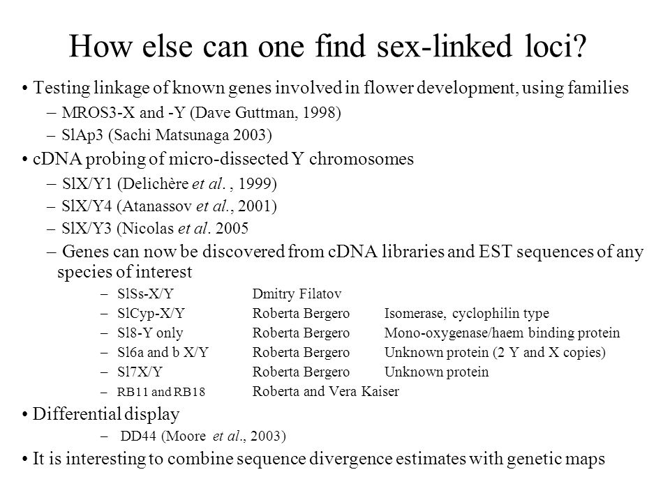 How else can one find sex-linked loci.