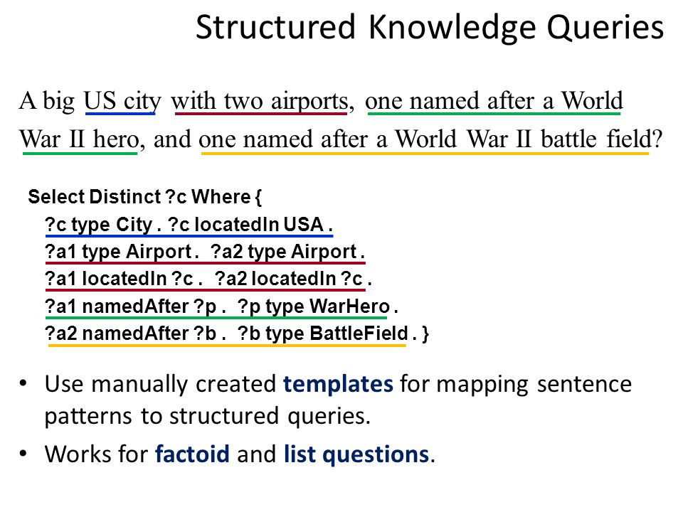 Structured Knowledge Queries A big US city with two airports, one named after a World War II hero, and one named after a World War II battle field.