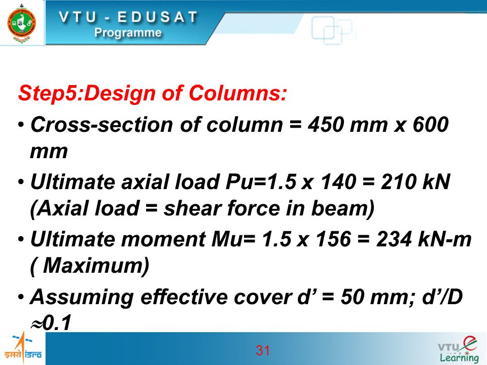 31 Step5:Design of Columns: Cross-section of column = 450 mm x 600 mm Ultimate axial load Pu=1.5 x 140 = 210 kN (Axial load = shear force in beam) Ult