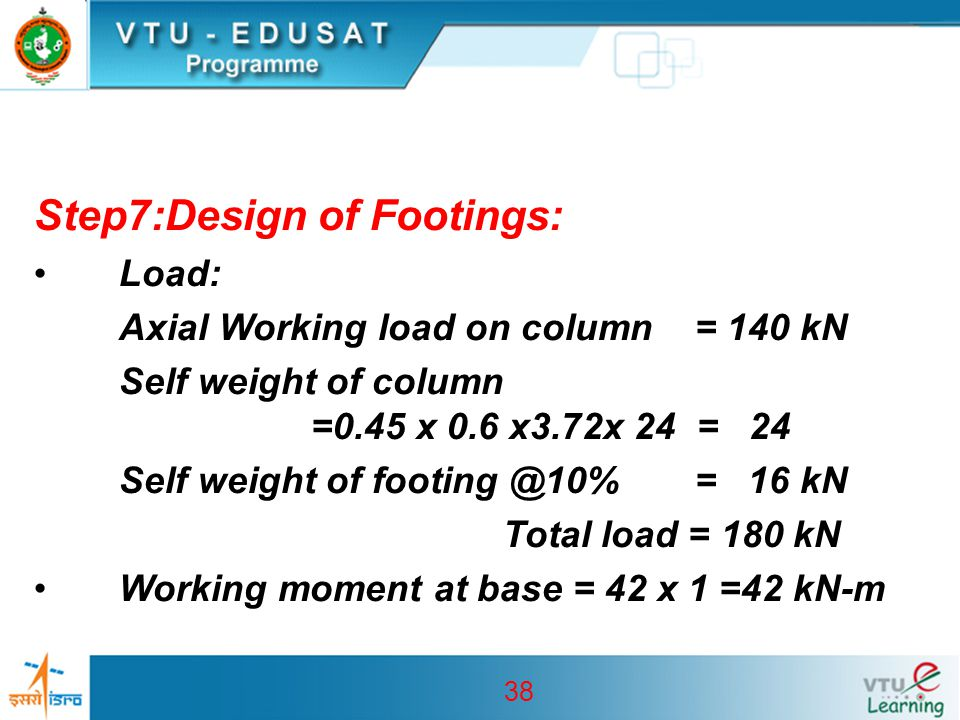 38 Step7:Design of Footings: Load: Axial Working load on column = 140 kN Self weight of column =0.45 x 0.6 x3.72x 24 = 24 Self weight of footing @10%