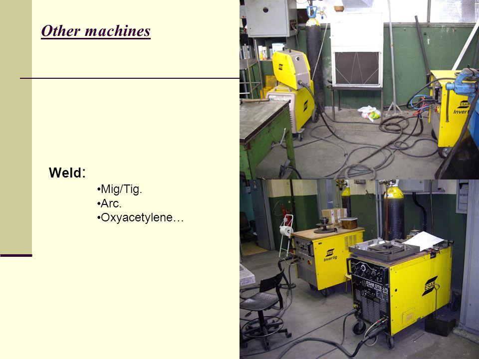Weld : Mig/Tig. Arc. Oxyacetylene… Other machines