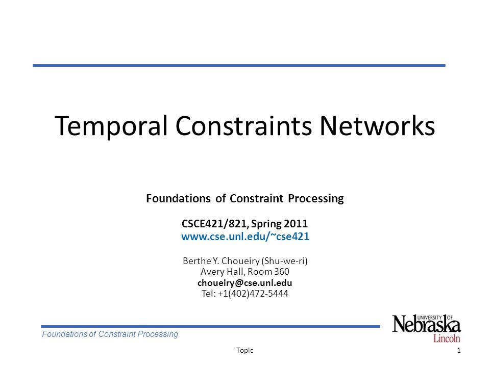 Foundations of Constraint Processing Reduction of meta-CSP's size Topic42