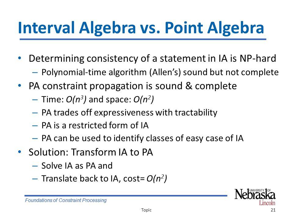 Foundations of Constraint Processing Interval Algebra vs.
