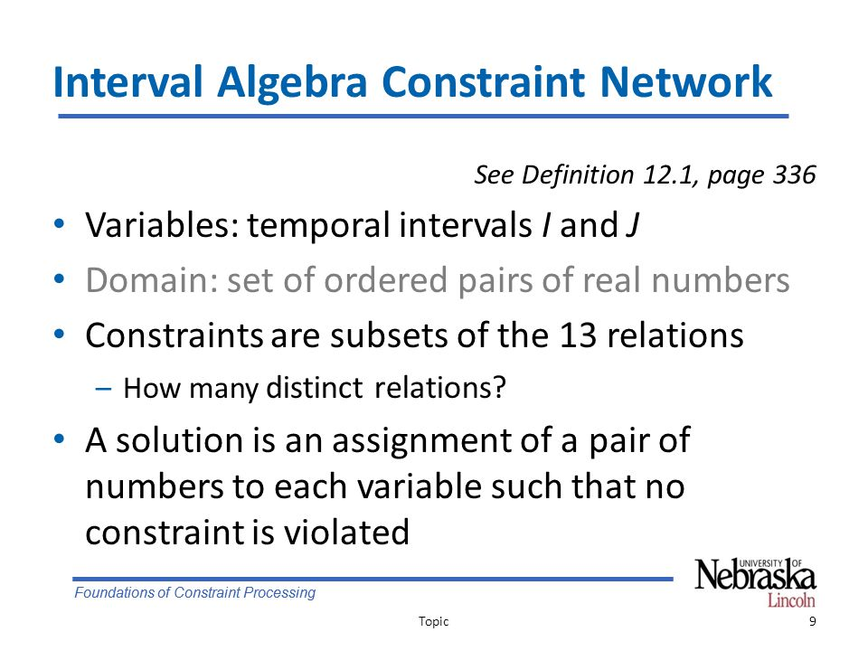 Foundations of Constraint Processing Limitations of Point Algebra In some cases, PA cannot fully express the constraints Example: IA: Paper {b, a} Coffee Topic20 paper coffeepaper coffee xyztxyzt y<z and t<x cannot exist simultaneously ztxyztxy