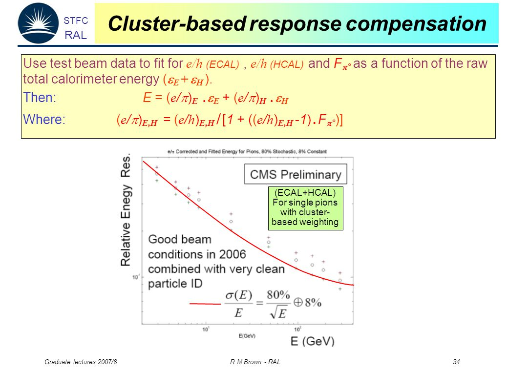 STFC RAL Graduate lectures 2007/8 R M Brown - RAL 34 Cluster-based response compensation Use test beam data to fit for e/h (ECAL), e/h (HCAL) and F  ° as a function of the raw total calorimeter energy (  E +  H ).
