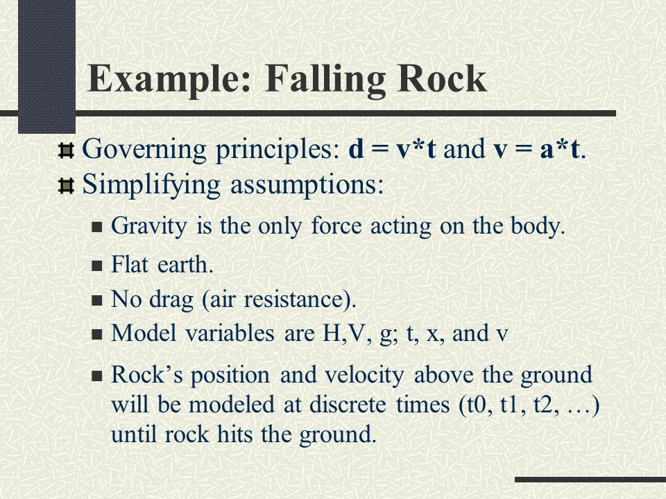 Example: Falling Rock Governing principles: d = v*t and v = a*t.