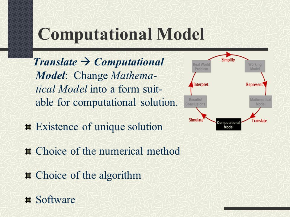 Computational Model Translate  Computational Model: Change Mathema- tical Model into a form suit- able for computational solution.