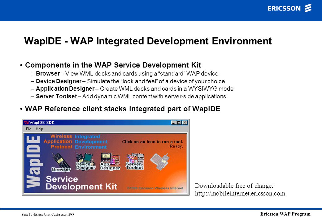 Ericsson WAP Program Page 15 /Erlang User Conference 1999 WapIDE - WAP Integrated Development Environment Components in the WAP Service Development Ki