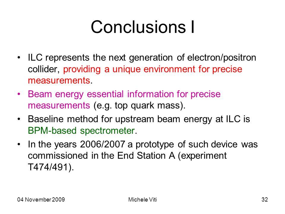04 November 2009Michele Viti32 Conclusions I ILC represents the next generation of electron/positron collider, providing a unique environment for precise measurements.