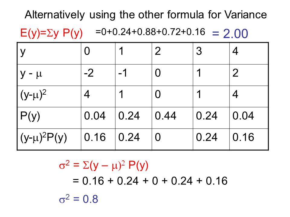 y01234 y -  -2012 (y-  ) 2 41014 P(y)0.040.240.440.240.04 (y-  ) 2 P(y) 0.160.240 0.16 E(y)=  y P(y) =0+0.24+0.88+0.72+0.16 = 2.00  2 =  (y – 