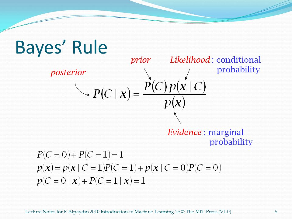 Bayes' Rule posterior Likelihood : conditional probability prior Evidence : marginal probability 5Lecture Notes for E Alpaydın 2010 Introduction to Machine Learning 2e © The MIT Press (V1.0)