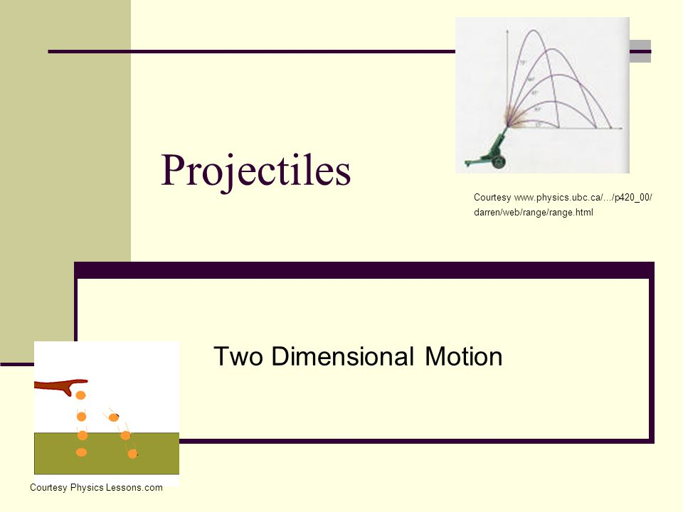 Projectiles Two Dimensional Motion Courtesy www.physics.ubc.ca/.../p420_00/ darren/web/range/range.html Courtesy Physics Lessons.com