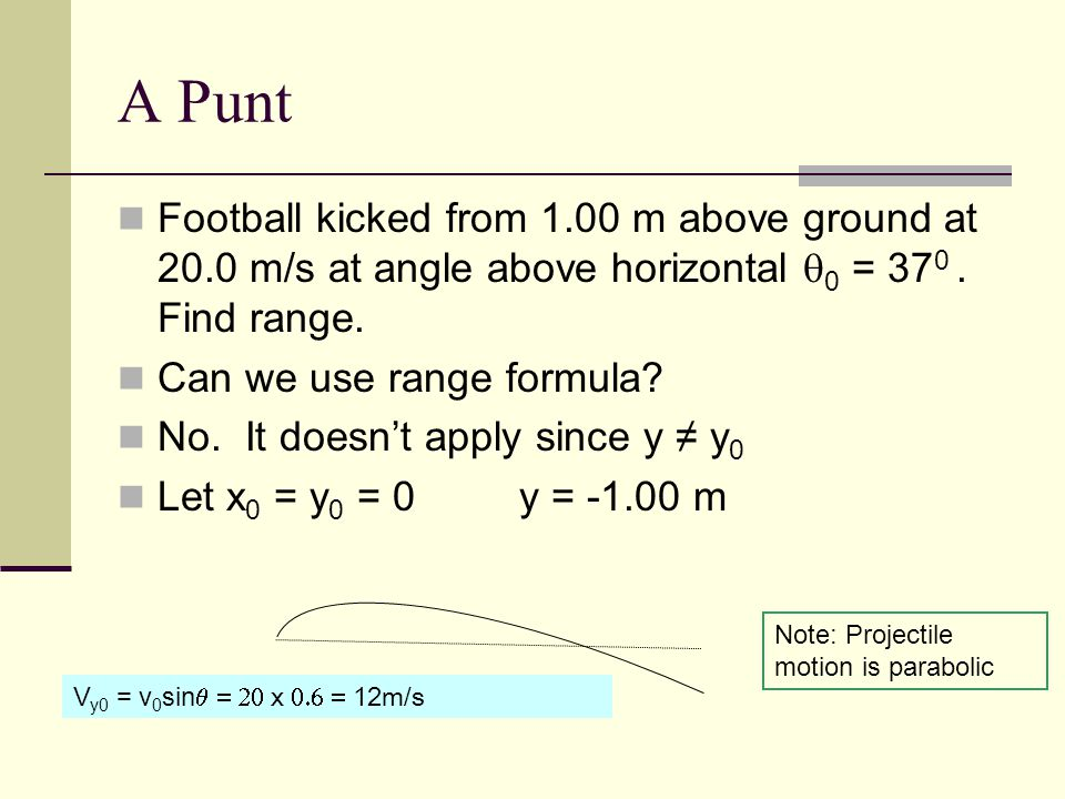 A Punt Football kicked from 1.00 m above ground at 20.0 m/s at angle above horizontal  0 = 37 0.