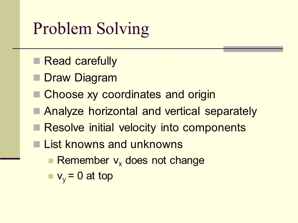 Problem Solving Read carefully Draw Diagram Choose xy coordinates and origin Analyze horizontal and vertical separately Resolve initial velocity into components List knowns and unknowns Remember v x does not change v y = 0 at top