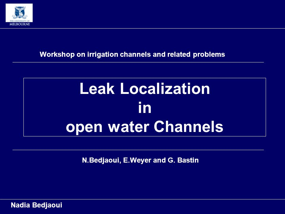 Leak Localization in open water Channels Nadia Bedjaoui Workshop on irrigation channels and related problems N.Bedjaoui, E.Weyer and G.