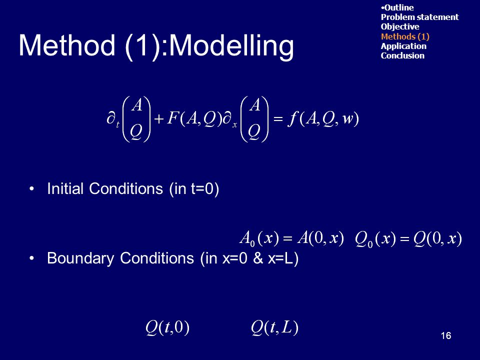 16 Initial Conditions (in t=0) Boundary Conditions (in x=0 & x=L) Outline Problem statement Objective Methods (1) Application Conclusion Method (1):Modelling