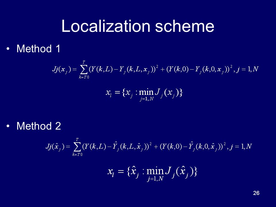 26 Localization scheme Method 1 Method 2