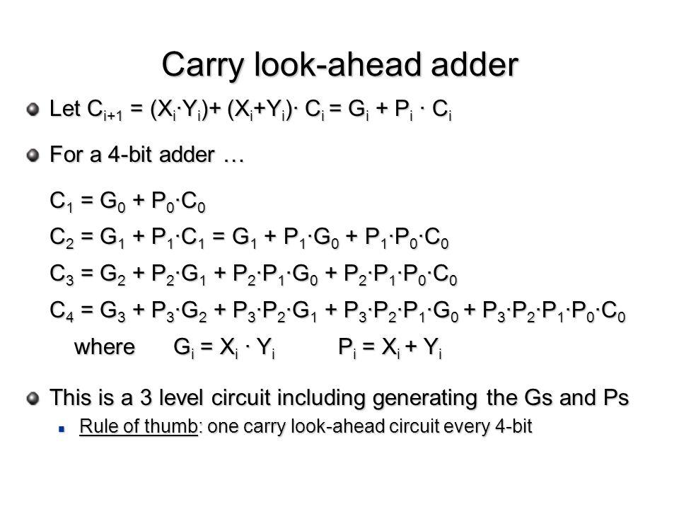 Let C i+1 = (X i ·Y i )+ (X i +Y i )· C i = G i + P i · C i For a 4-bit adder … C 1 = G 0 + P 0 ·C 0 C 2 = G 1 + P 1 ·C 1 = G 1 + P 1 ·G 0 + P 1 ·P 0