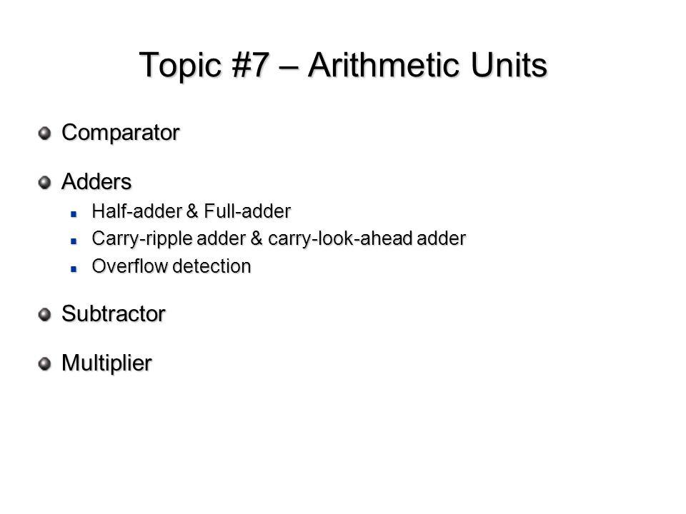 Topic #7 – Arithmetic Units ComparatorAdders Half-adder & Full-adder Half-adder & Full-adder Carry-ripple adder & carry-look-ahead adder Carry-ripple