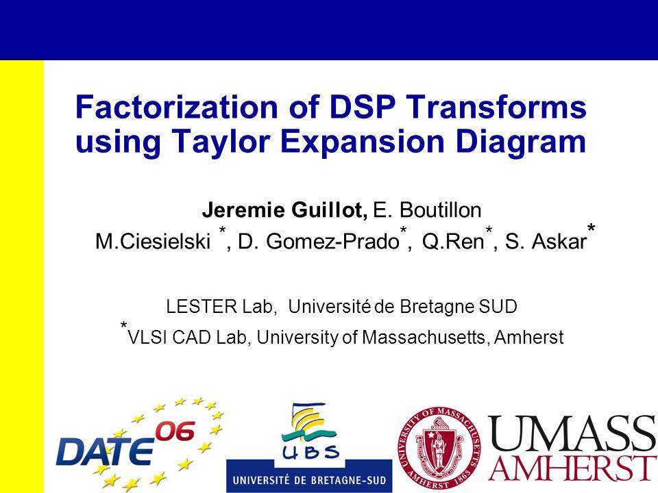 Factorization of DSP Transforms using Taylor Expansion Diagram Jeremie Guillot, E. Boutillon M.Ciesielski *, D. Gomez-Prado *, Q.Ren *, S. Askar * LES