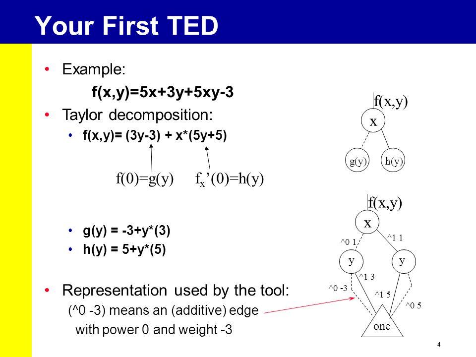 4 Your First TED Example: f(x,y)=5x+3y+5xy-3 Taylor decomposition: f(x,y)= (3y-3) + x*(5y+5) g(y) = -3+y*(3) h(y) = 5+y*(5) Representation used by the
