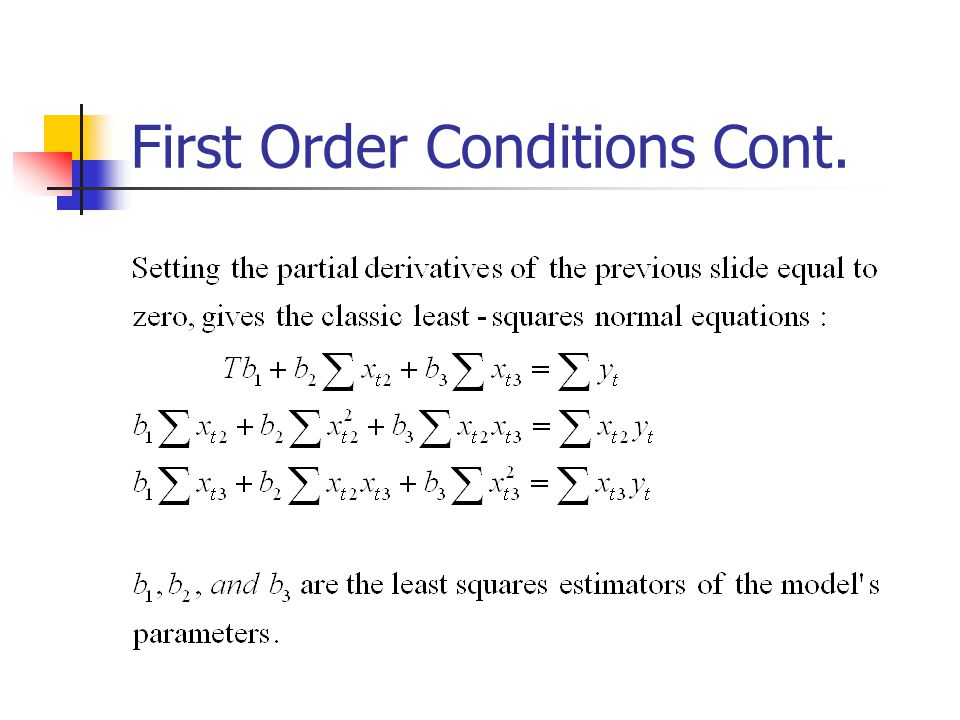 First Order Conditions Cont.