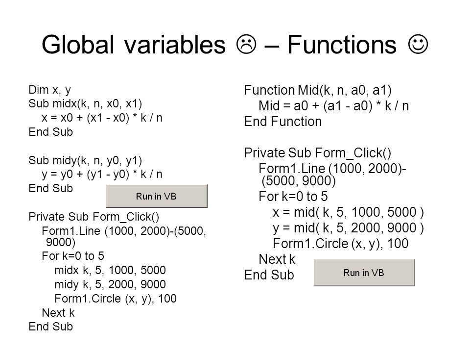 Global variables  – Functions Dim x, y Sub midx(k, n, x0, x1) x = x0 + (x1 - x0) * k / n End Sub Sub midy(k, n, y0, y1) y = y0 + (y1 - y0) * k / n End Sub Private Sub Form_Click() Form1.Line (1000, 2000)-(5000, 9000) For k=0 to 5 midx k, 5, 1000, 5000 midy k, 5, 2000, 9000 Form1.Circle (x, y), 100 Next k End Sub Function Mid(k, n, a0, a1) Mid = a0 + (a1 - a0) * k / n End Function Private Sub Form_Click() Form1.Line (1000, 2000)- (5000, 9000) For k=0 to 5 x = mid( k, 5, 1000, 5000 ) y = mid( k, 5, 2000, 9000 ) Form1.Circle (x, y), 100 Next k End Sub
