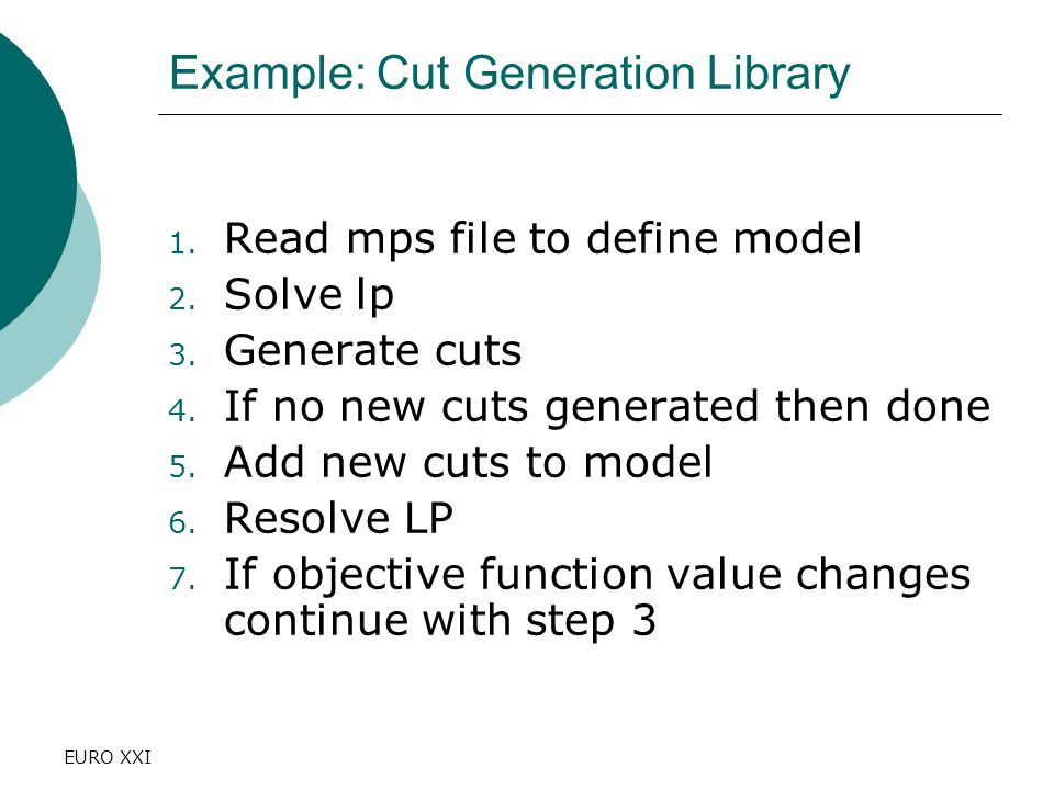 EURO XXI Example: Cut Generation Library 1. Read mps file to define model 2.