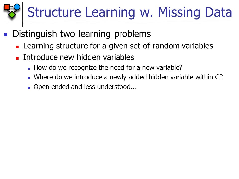 Structure Learning w. Missing Data Distinguish two learning problems Learning structure for a given set of random variables Introduce new hidden varia