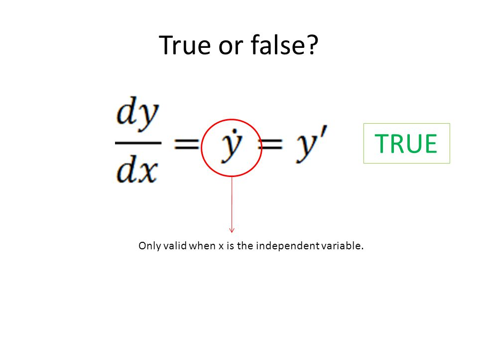 True or false? TRUE Only valid when x is the independent variable.