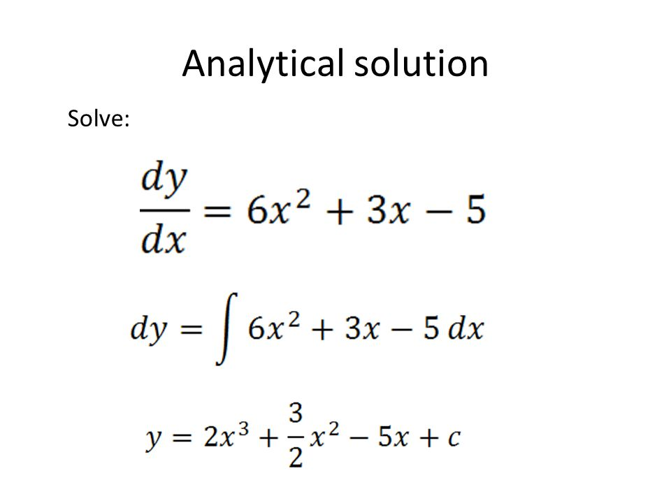 Analytical solution Solve: