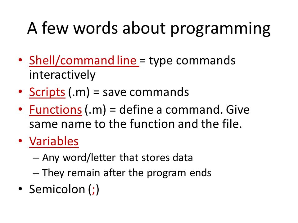 A few words about programming Shell/command line = type commands interactively Scripts (.m) = save commands Functions (.m) = define a command.