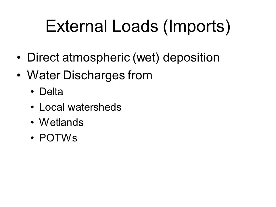 External Loads (Imports) Direct atmospheric (wet) deposition Water Discharges from Delta Local watersheds Wetlands POTWs