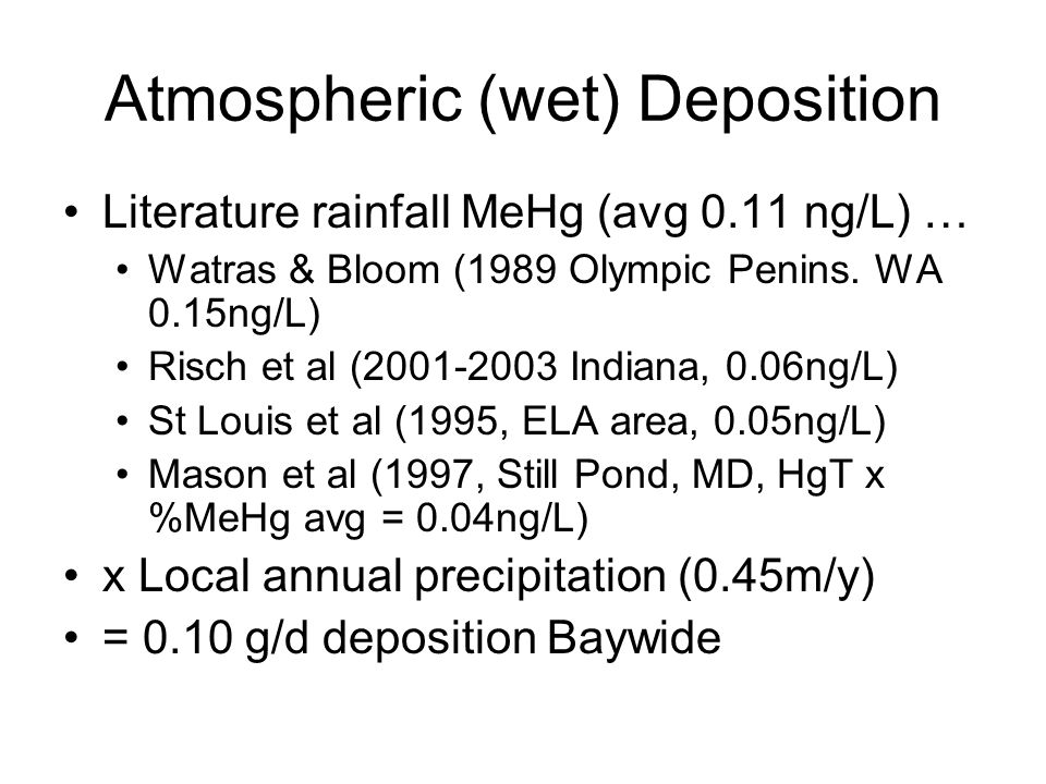Atmospheric (wet) Deposition Literature rainfall MeHg (avg 0.11 ng/L) … Watras & Bloom (1989 Olympic Penins.