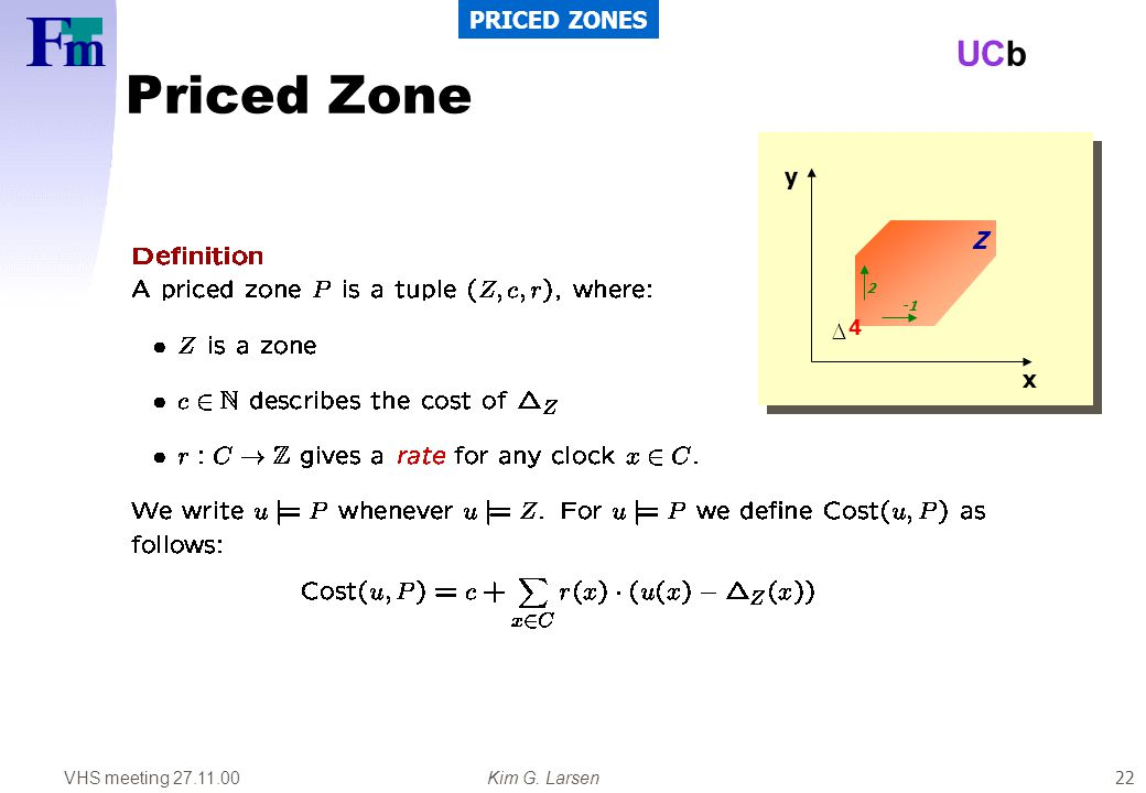 VHS meeting 27.11.00Kim G. Larsen UCb 22 Priced Zone PRICED ZONES x y 4 2 Z