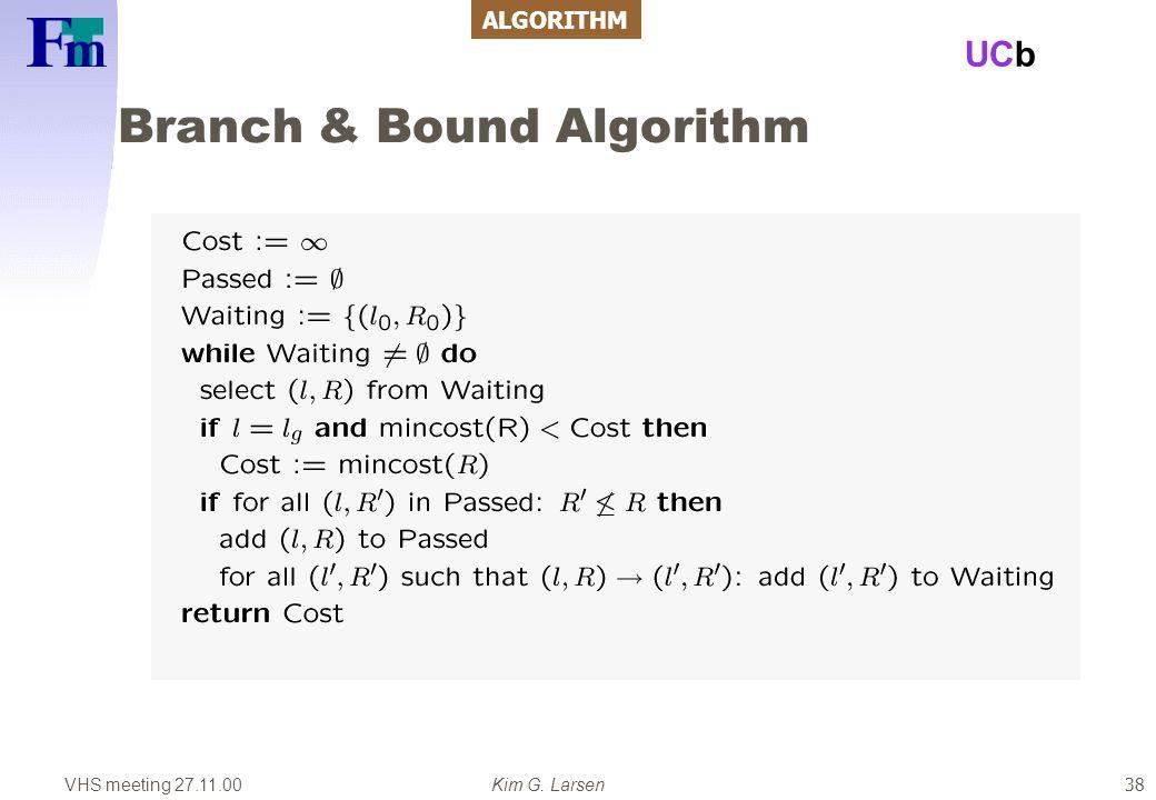 VHS meeting 27.11.00Kim G. Larsen UCb 38 Branch & Bound Algorithm ALGORITHM