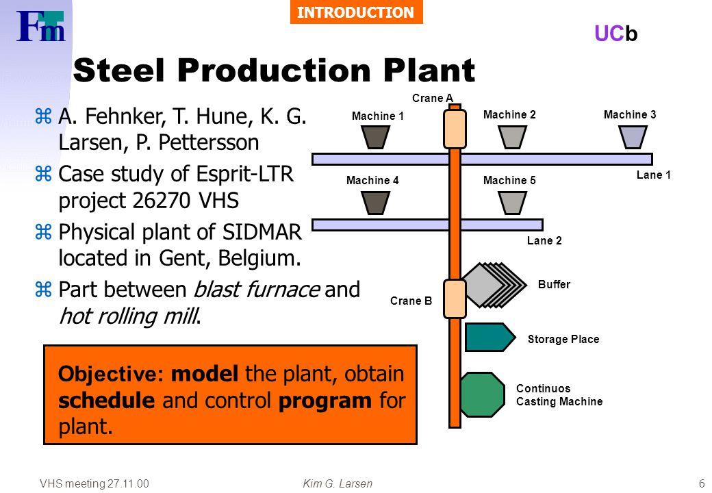 VHS meeting 27.11.00Kim G. Larsen UCb 6 Steel Production Plant Machine 1 Machine 2Machine 3 Machine 4Machine 5 Buffer Continuos Casting Machine Storag