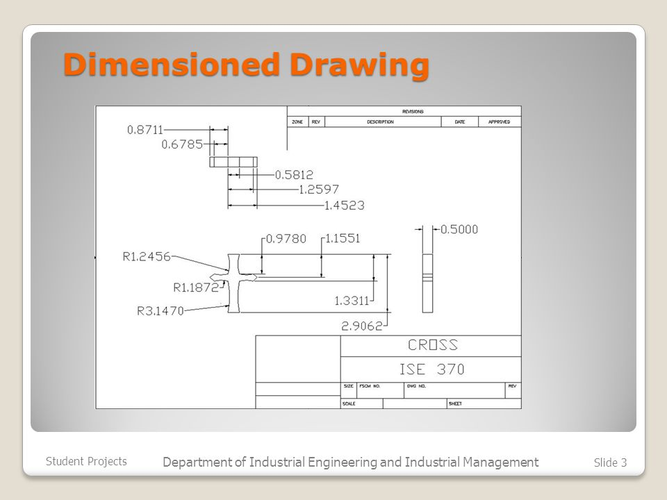 Dimensioned Drawing Student Projects Department of Industrial Engineering and Industrial Management Slide 3