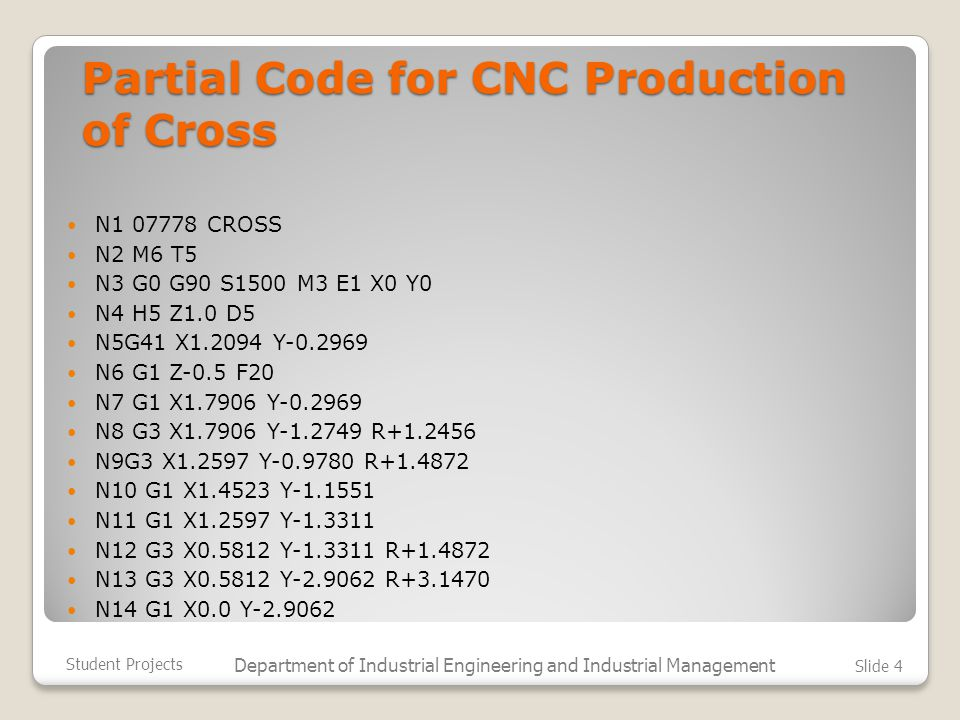 Partial Code for CNC Production of Cross N1 07778 CROSS N2 M6 T5 N3 G0 G90 S1500 M3 E1 X0 Y0 N4 H5 Z1.0 D5 N5G41 X1.2094 Y-0.2969 N6 G1 Z-0.5 F20 N7 G1 X1.7906 Y-0.2969 N8 G3 X1.7906 Y-1.2749 R+1.2456 N9G3 X1.2597 Y-0.9780 R+1.4872 N10 G1 X1.4523 Y-1.1551 N11 G1 X1.2597 Y-1.3311 N12 G3 X0.5812 Y-1.3311 R+1.4872 N13 G3 X0.5812 Y-2.9062 R+3.1470 N14 G1 X0.0 Y-2.9062 Student Projects Department of Industrial Engineering and Industrial Management Slide 4