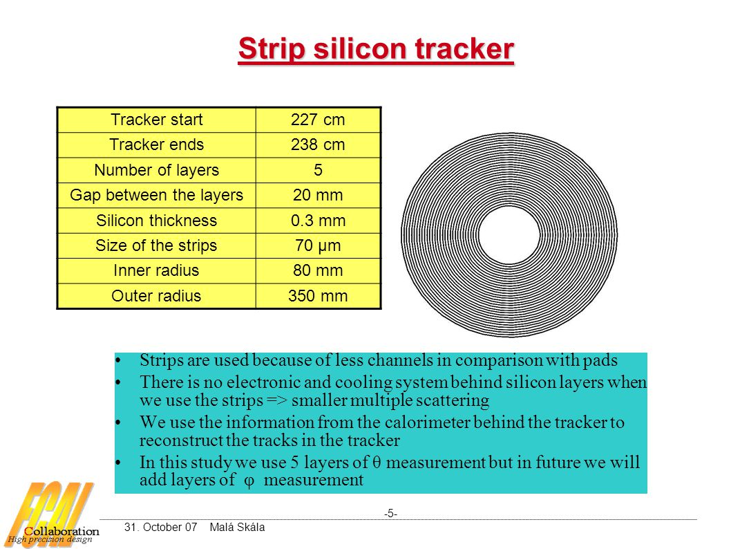 Strip silicon tracker Tracker start227 cm Tracker ends238 cm Number of layers5 Gap between the layers20 mm Silicon thickness0.3 mm Size of the strips70 μm Inner radius80 mm Outer radius350 mm Strips are used because of less channels in comparison with pads There is no electronic and cooling system behind silicon layers when we use the strips => smaller multiple scattering We use the information from the calorimeter behind the tracker to reconstruct the tracks in the tracker In this study we use 5 layers of θ measurement but in future we will add layers of φ measurement -5- 31.