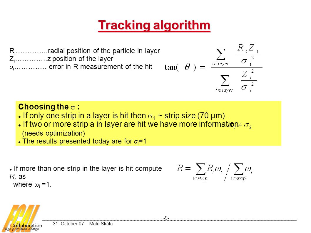 Tracking algorithm R i …………..radial position of the particle in layer Z i …………..z position of the layer  i …………..