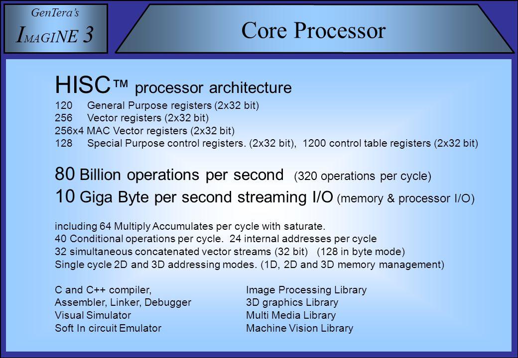 GenTera's I M A G I N E 3 Core Processor HISC ™ processor architecture 120 General Purpose registers (2x32 bit) 256 Vector registers (2x32 bit) 256x4 MAC Vector registers (2x32 bit) 128 Special Purpose control registers.