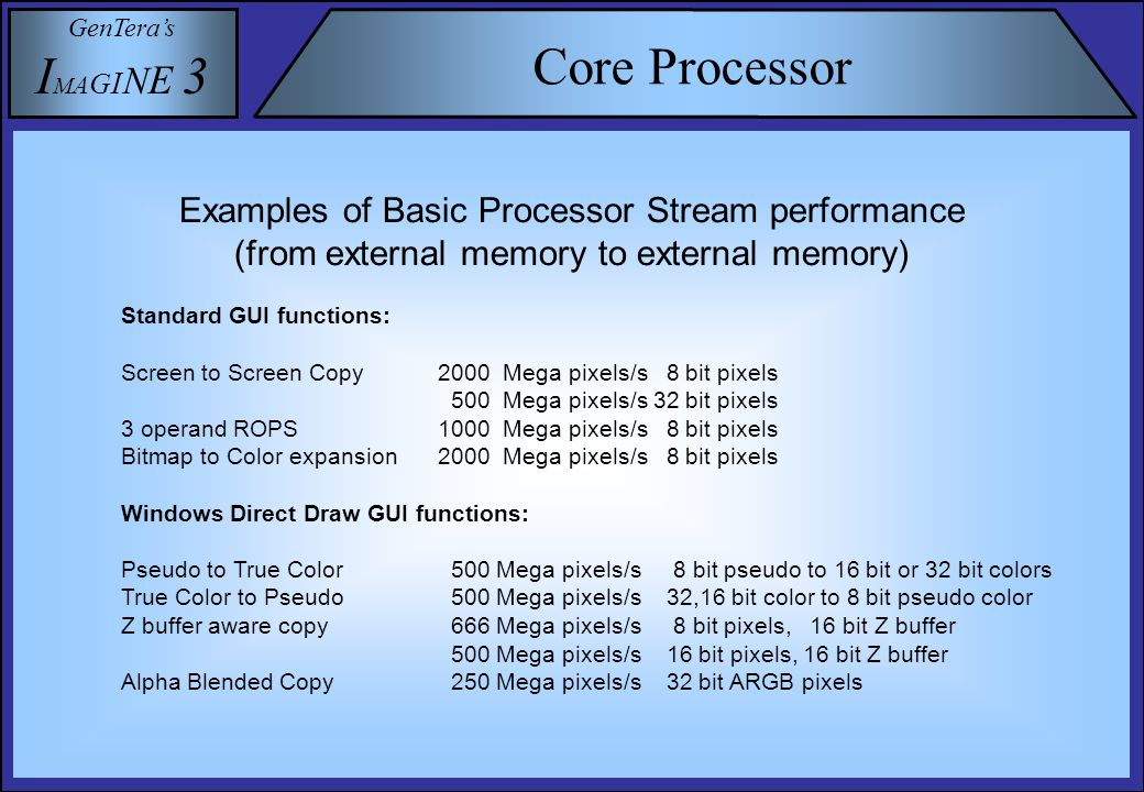 GenTera's I M A G I N E 3 Core Processor Examples of Core Processor stream performance (2) (from external memory to external memory) Multi Media Functions: (numbers in result pixels/s) YUV to RGB conversion 500 Mega pixels/s ( 32 bit color, 16 bit hi-color, 8 bit pseudo) DCT and IDCT (8x8 blocks) 167 Mega pixels/s ( 16 bit values, 32 bit calculations) DCT and IDCT (8x8 blocks) 667 Mega pixels/s ( 8 bit values, 16 bit calculations) Photo shop type Image Processing Functions: (numbers in result pixels/s) 3x3 kernel convolution2000 Mega pixels/s (8 bit pixels, 16 bit calculations) 7x7 kernel convolution 500 Mega pixels/s (8 bit pixels, 16 bit calculations) Bi-cubic Rotation1000 Mega pixels/s (8 bit pixels, 16 bit calculations) Bi-cubic Scaling1000 Mega pixels/s (8 bit pixels, 16 bit calculations) 3D graphics Geometry: (4x4) homogeneous transformations plus perspective divides for X, Y and Z for meshed triangles in 32 bit floating point (IEEE):50 Million triangles/s