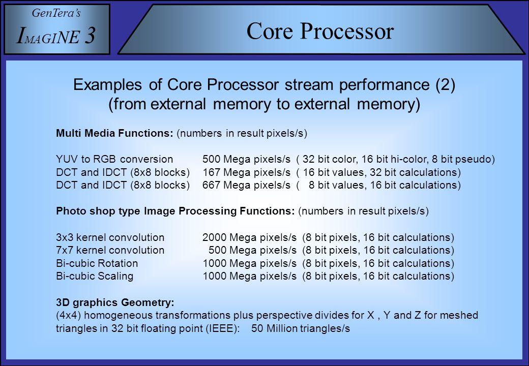 GenTera's I M A G I N E 3 Core Processor DIO WR VIO WR X0 MACX0 ALU X0 X1 MAC X1 ALU X1 Y0 MACY0 ALU Y0 Y1 MAC Y1 ALU Y1 Interconnect (100 % connectivity) REG A0 VIO 0 A0 REG A1 VIO 1 A1 REG B0 DIO 0 B0 REG B1 DIO 1 B1 REG WR1 REG WR0 Data Read Ports Data Processing Units Data Write Ports Data Write Ports