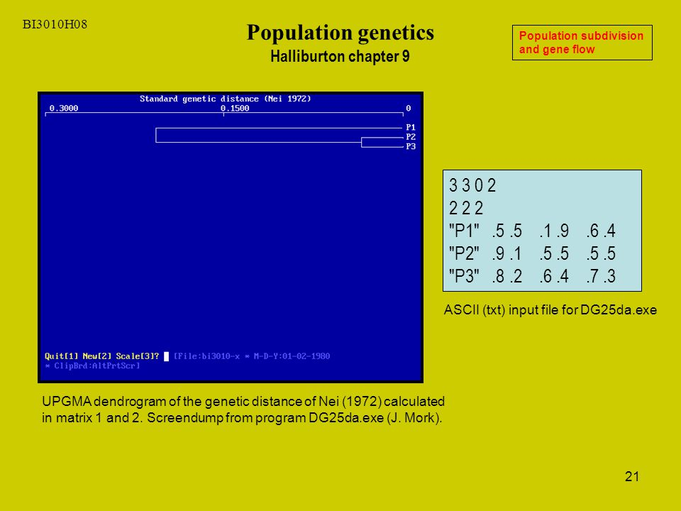 21 BI3010H08 Population genetics Halliburton chapter 9 Population subdivision and gene flow UPGMA dendrogram of the genetic distance of Nei (1972) calculated in matrix 1 and 2.