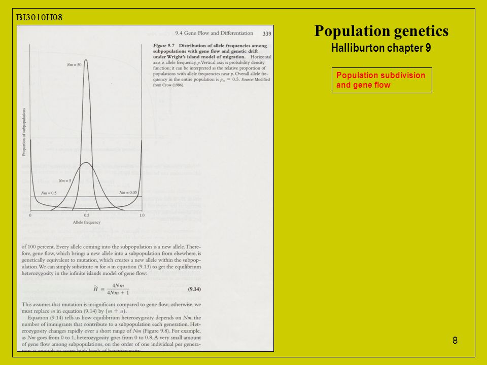 8 BI3010H08 Population genetics Halliburton chapter 9 Population subdivision and gene flow