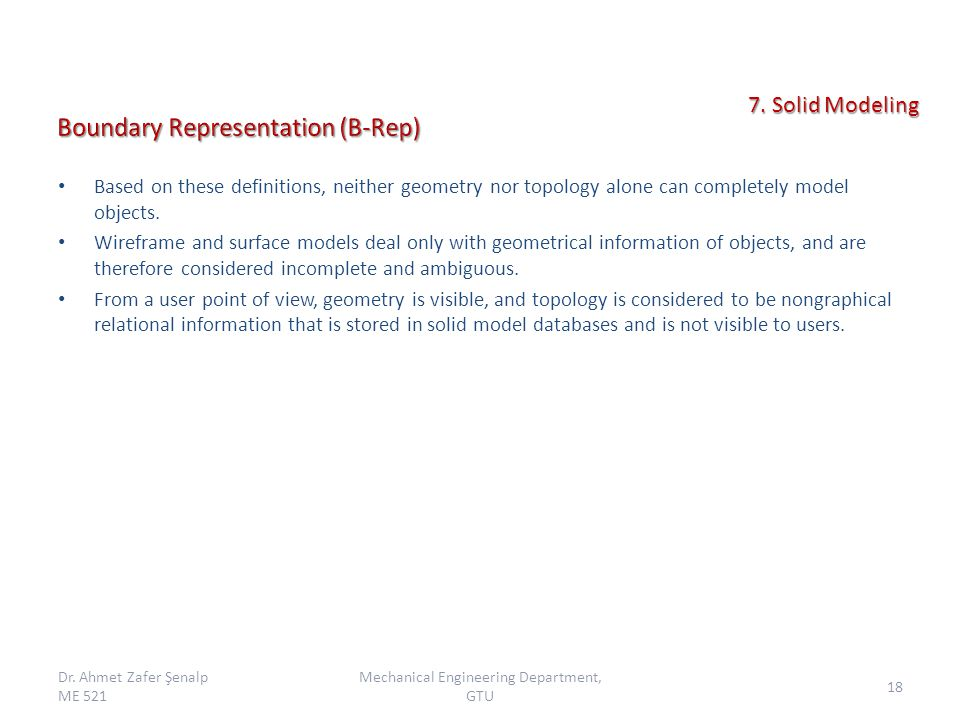 Based on these definitions, neither geometry nor topology alone can completely model objects.