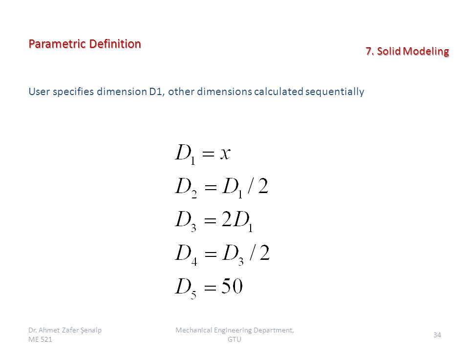 Parametric Definition User specifies dimension D1, other dimensions calculated sequentially Dr.